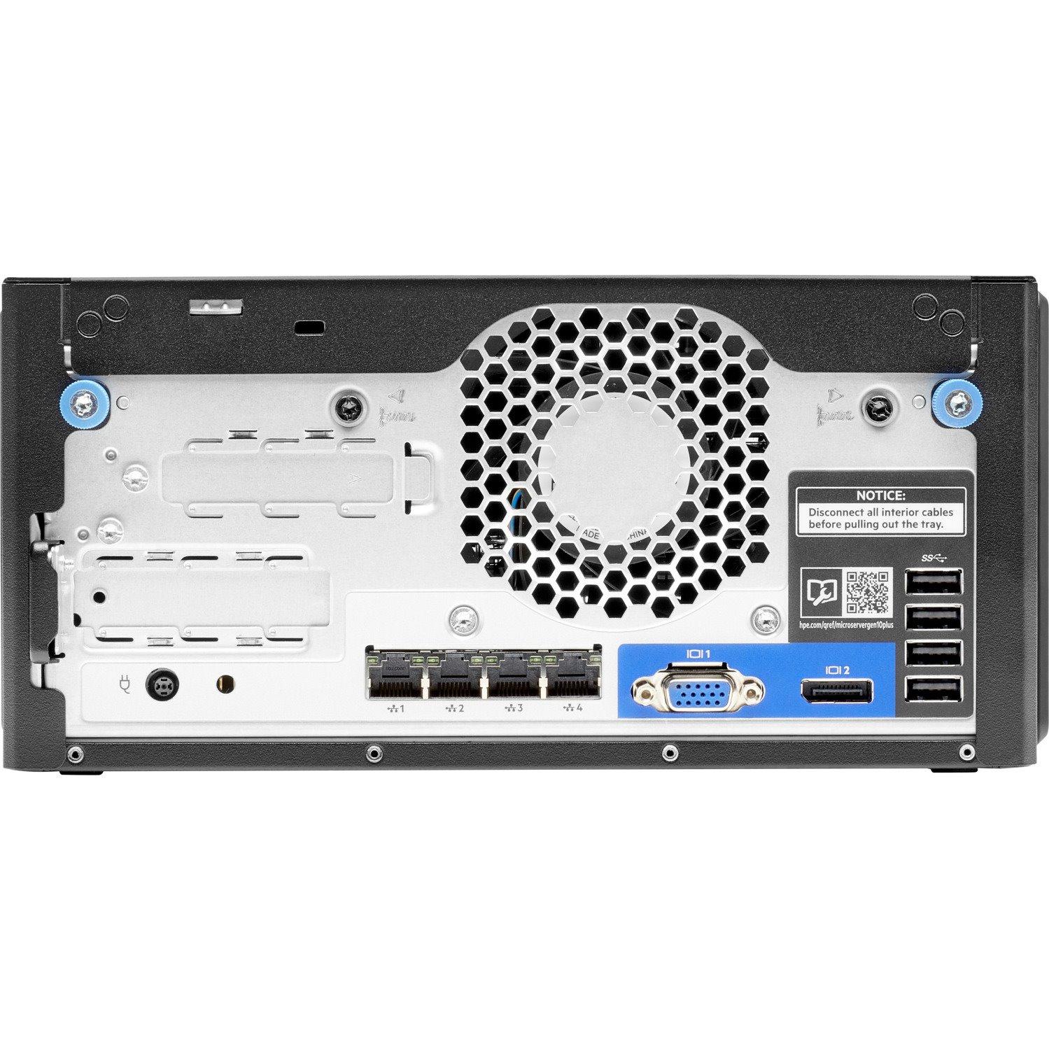 HPE ProLiant MicroServer Gen10 Plus Ultra Micro Tower Server - Intel C242 SoC - 1 x Intel Xeon E-2224 3.40 GHz - 16 GB RAM - Serial ATA/600 Controller