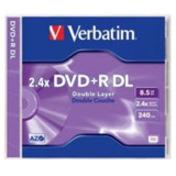Verbatim DVD Recordable Media - DVD+R DL - 2.4x - 8.50 GB - 1 Pack Jewel Case