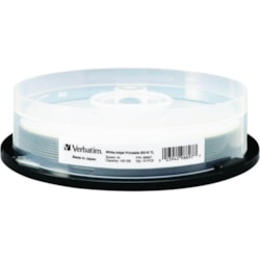 Verbatim BD-R XL 100GB 4X White Inkjet Printable, Hub Printable - 10pk Spindle