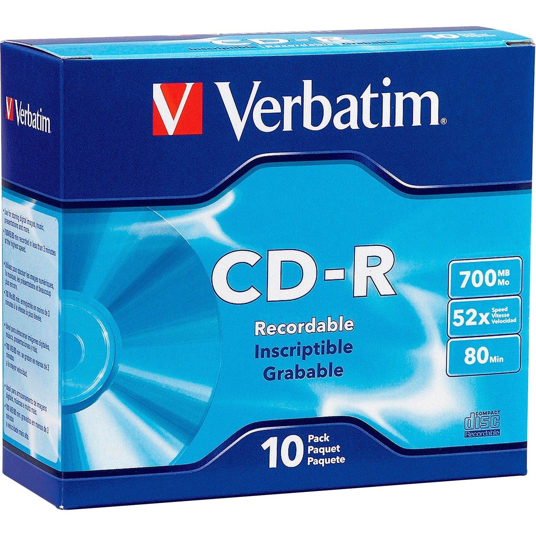 Verbatim 94935 CD Recordable Media - CD-R - 52x - 700 MB - 10 Pack Slim Case