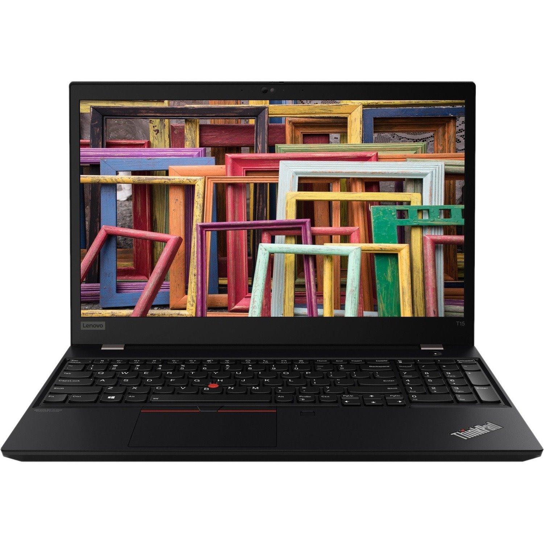 """Lenovo ThinkPad T15 Gen 1 20S6002SAU 39.6 cm (15.6"""") Notebook - Full HD - 1920 x 1080 - Intel Core i7 (10th Gen) i7-10510U Quad-core (4 Core) 1.80 GHz - 8 GB RAM - 256 GB SSD - Glossy Black"""