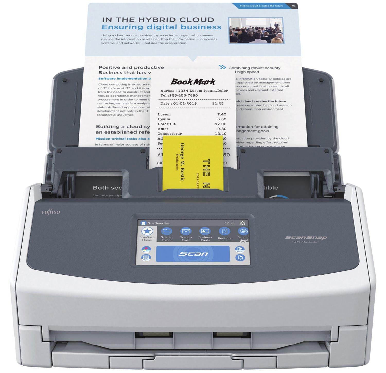 Fujitsu ScanSnap iX1600 Large Format ADF Scanner - 600 dpi Optical