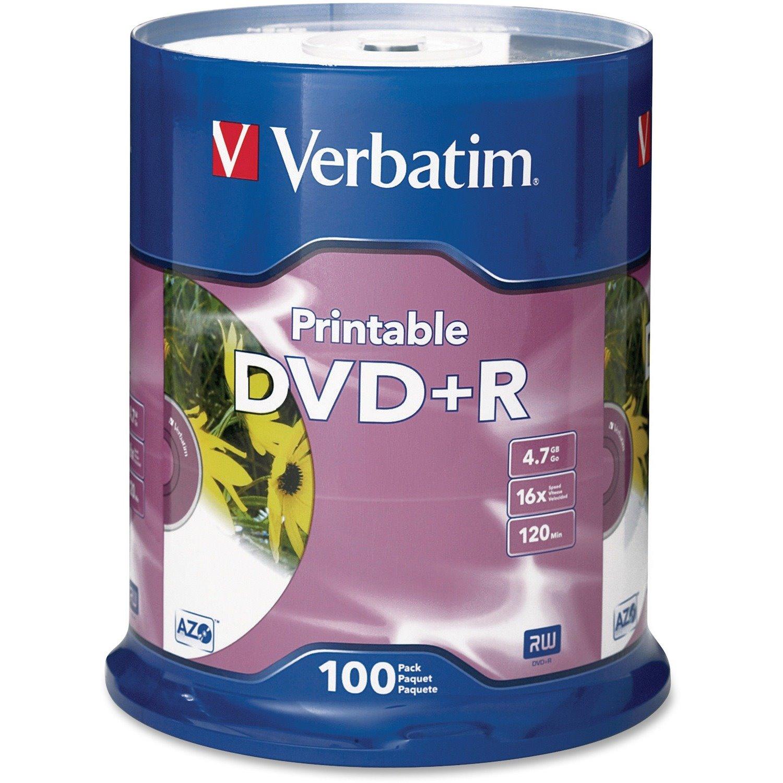 Verbatim DVD Recordable Media - DVD+R - 16x - 4.70 GB - 100 Pack Spindle - Retail
