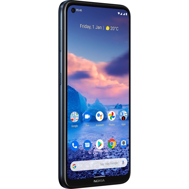 "Nokia 5.4 128 GB Smartphone - 16.2 cm (6.4"") LCD HD+ 1560 x 720 - Kryo 260 GoldQuad-core (4 Core) 2 GHz + Kryo 260 Silver Quad-core (4 Core) 1.80 GHz - 4 GB RAM - Android 10 - 4G - Blue"