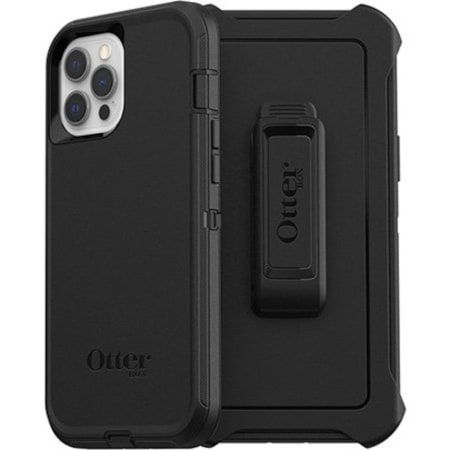 OtterBox Defender Rugged Carrying Case (Holster) Apple iPhone 12 Pro Max Smartphone - Black