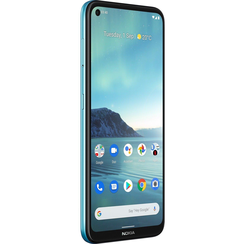 """Nokia 3.4 64 GB Smartphone - 16.2 cm (6.4"""") LCD HD+ 720 x 1560 - Cortex A73Quad-core (4 Core) 1.80 GHz + Cortex A53 Quad-core (4 Core) 1.80 GHz - 3 GB RAM - Android 10 - 4G - FJORD"""