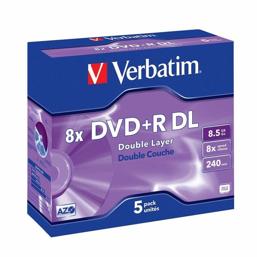 Verbatim 43541 DVD Recordable Media - DVD+R DL - 8x - 8.50 GB - 5 Pack Jewel Case