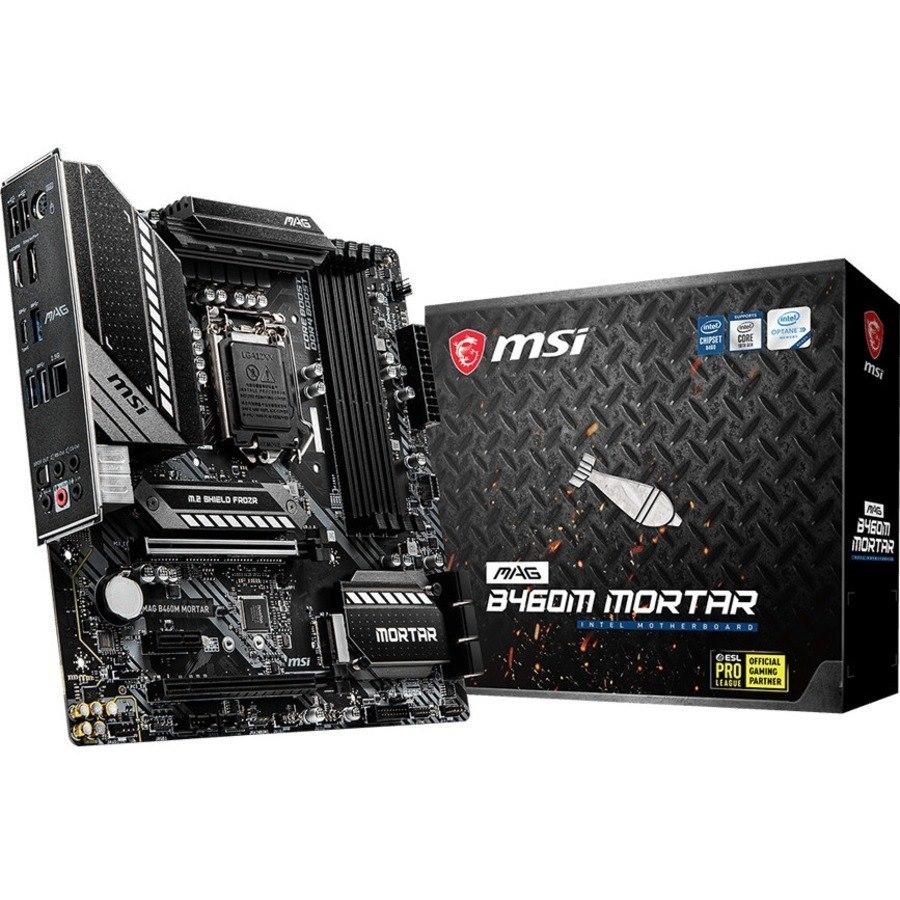 MSI MAG B460M MORTAR Desktop Motherboard - Intel Chipset - Socket LGA-1200 - Intel Optane Memory Ready - Micro ATX