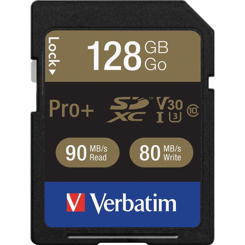 Verbatim PRO Plus 128 GB Class 10/UHS-I (U3) SDXC - 1 Pack - TAA Compliant