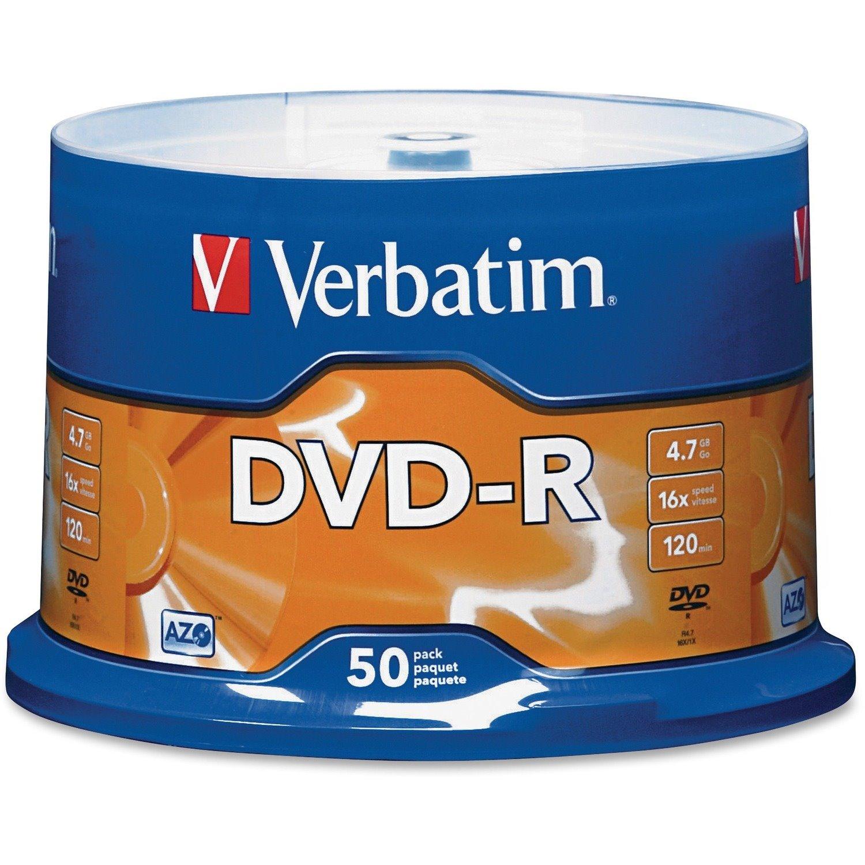 Verbatim 95101 DVD Recordable Media - DVD-R - 16x - 4.70 GB - 50 Pack Spindle