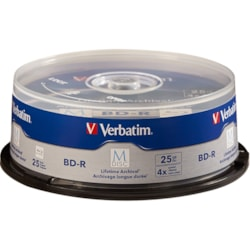 Verbatim M-Disc BD-R 25GB 4X with Branded Surface - 25pk Spindle