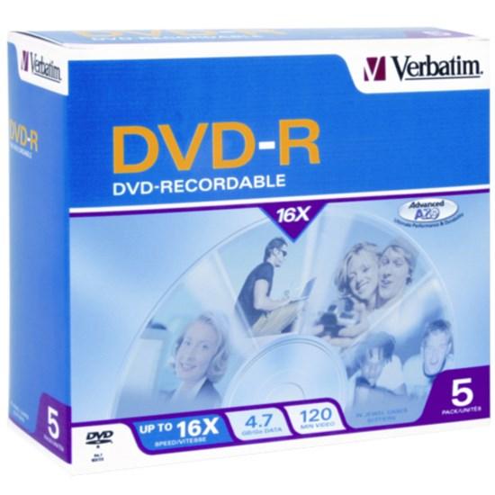 Verbatim DVD Recordable Media - DVD-R - 16x - 4.70 GB - 5 Pack Jewel Case