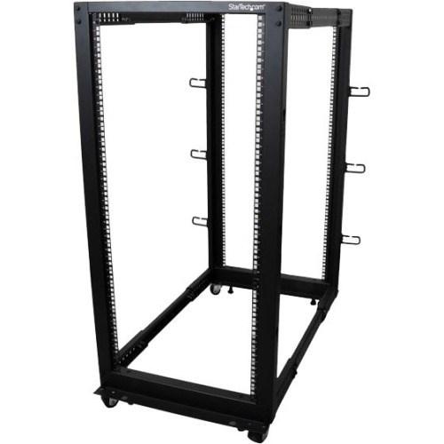 StarTech.com 25U Floor Standing Rack Cabinet for Server, LAN Switch, A/V Equipment, Patch Panel, KVM Switch - 464.82 mm Rack Width x 1016 mm Rack Depth - Black