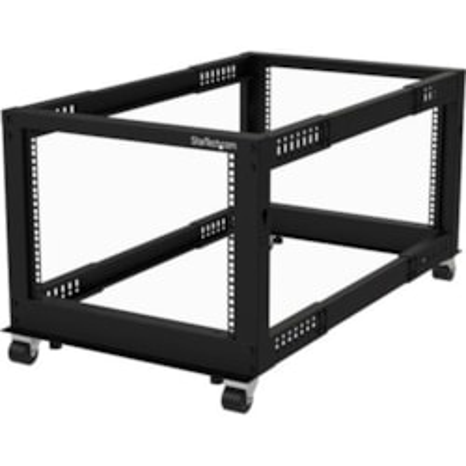 StarTech.com 8U Floor Standing Rack Frame for Server, KVM Switch, LAN Switch, Patch Panel, A/V Equipment - 482.60 mm Rack Width x 1023.62 mm Rack Depth - Black
