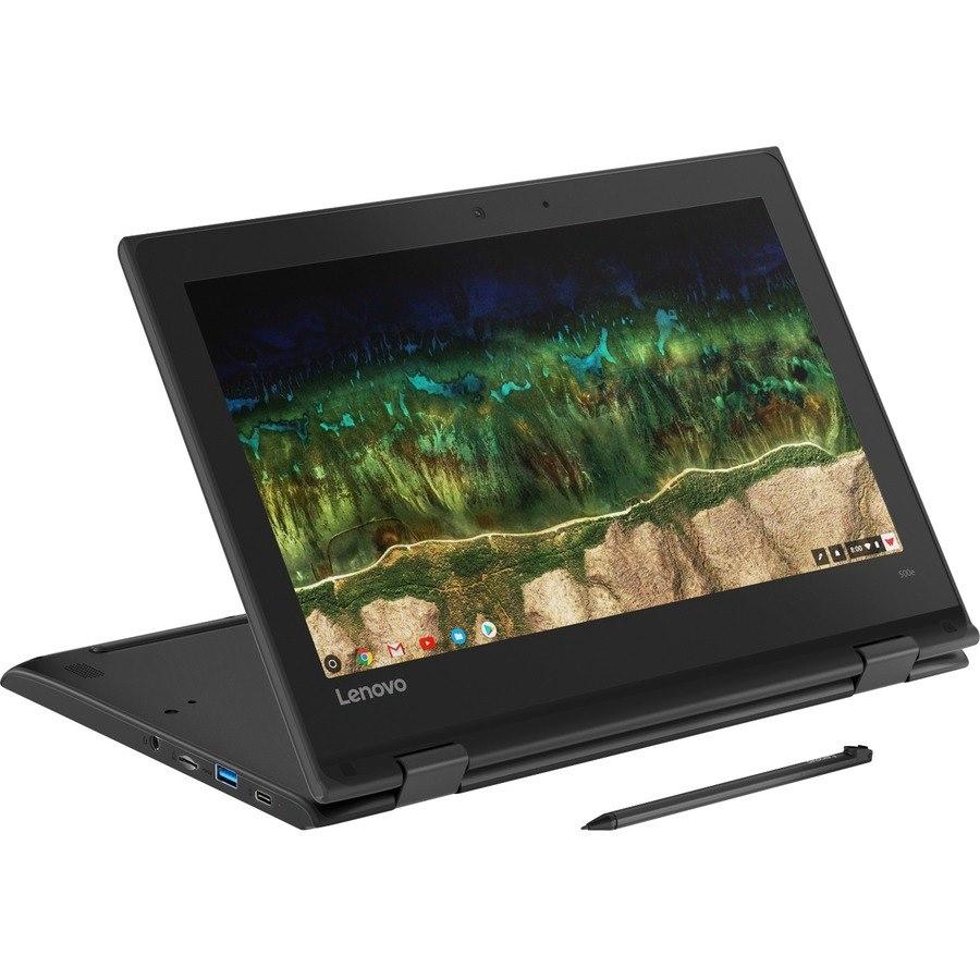 "Lenovo 500e Chromebook 2nd Gen 81MC001CAU 29.5 cm (11.6"") Touchscreen 2 in 1 Chromebook - HD - 1366 x 768 - Intel Celeron N4120 Quad-core (4 Core) 1.10 GHz - 4 GB RAM - 32 GB Flash Memory - Black"