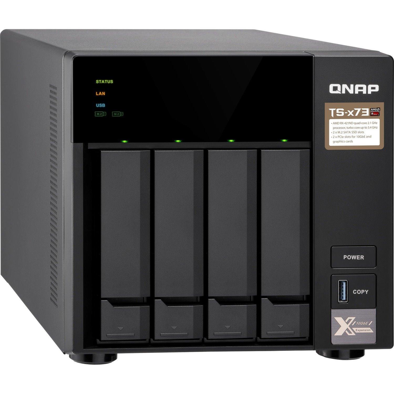 QNAP TS-473 4 x Total Bays SAN/NAS Storage System - 512 MB Flash Memory Capacity - AMD R-Series Quad-core (4 Core) 2.10 GHz - 4 GB RAM - DDR4 SDRAM Tower