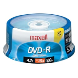 Maxell DVD Recordable Media - DVD-R - 16x - 4.70 GB - 25 Pack Spindle