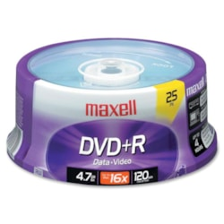 Maxell DVD Recordable Media - DVD+R - 16x - 4.70 GB - 25 Pack Spindle