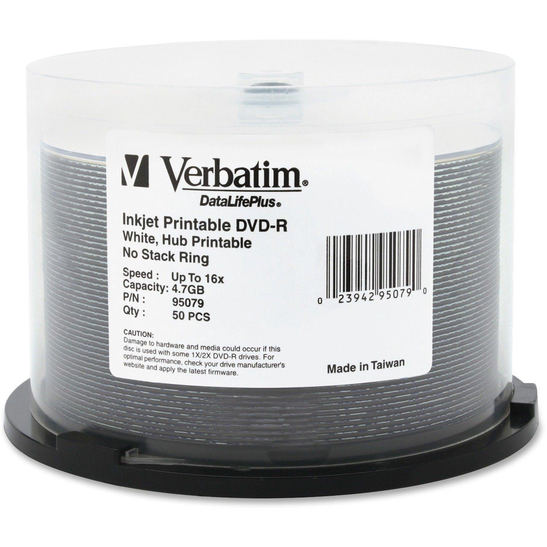 Verbatim DataLifePlus DVD Recordable Media - DVD-R - 16x - 4.70 GB - 50 Pack Spindle