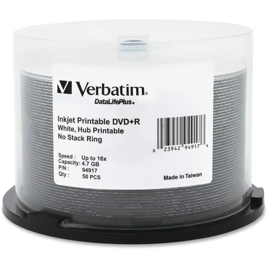Verbatim DataLifePlus DVD Recordable Media - DVD+R - 16x - 4.70 GB - 50 Pack Spindle - Retail