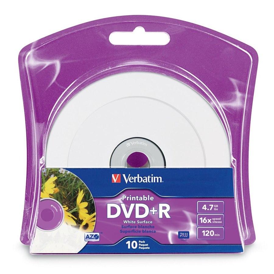 Verbatim DVD+R 4.7GB 16X White Inkjet Printable with Branded Hub - 10pk Blister