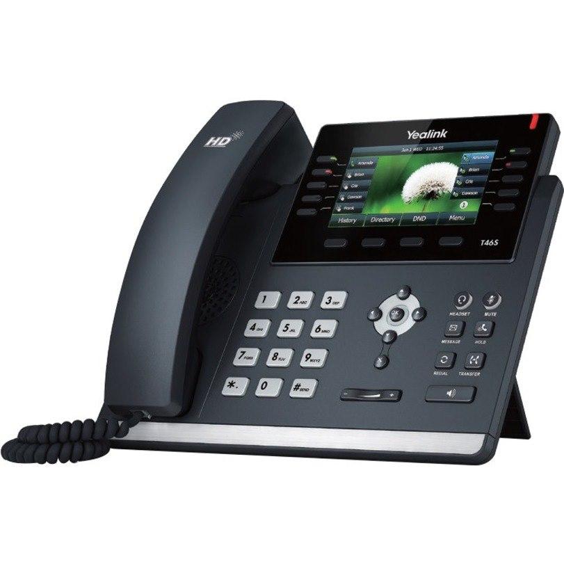 Yealink SIP-T46S IP Phone - Corded - Corded - Wall Mountable, Desktop - Black
