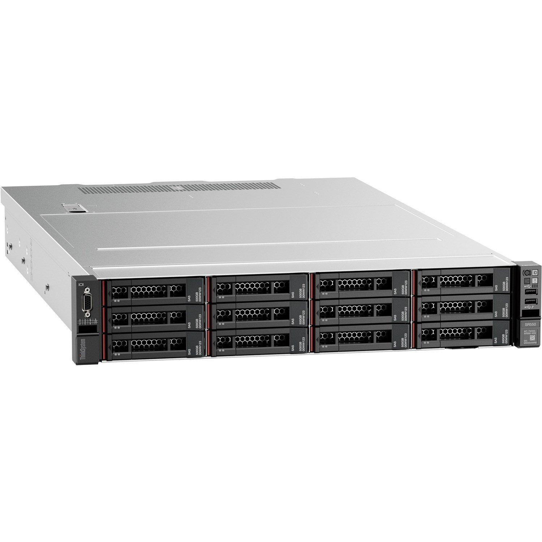 Lenovo ThinkSystem SR550 7X04A07LAU 2U Rack Server - 1 x Intel Xeon Silver 4208 2.10 GHz - 16 GB RAM HDD SSD - Serial ATA/600, 12Gb/s SAS Controller