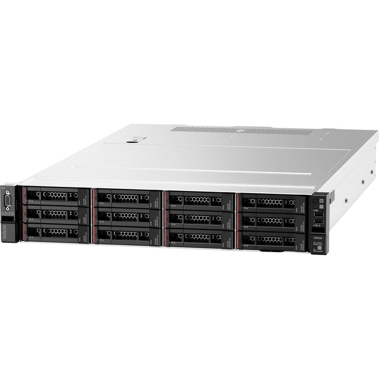 Lenovo ThinkSystem SR550 7X04A07ZAU 2U Rack Server - 1 x Intel Xeon Silver 4208 2.10 GHz - 16 GB RAM HDD SSD - Serial ATA/600, 12Gb/s SAS Controller