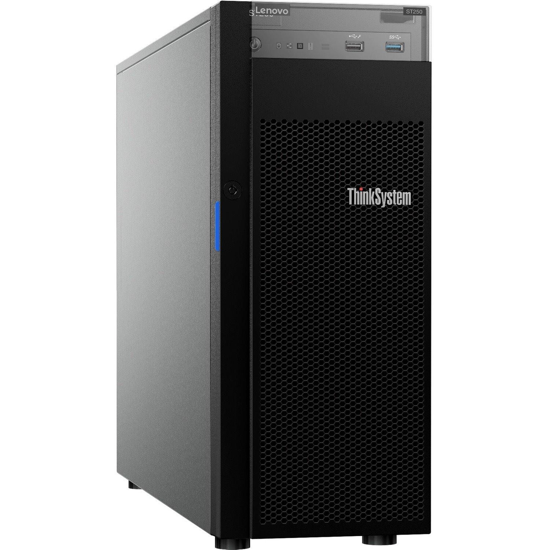 Lenovo ThinkSystem ST250 7Y45A01PAU 4U Tower Server - 1 x Intel Xeon E-2144G 3.60 GHz - 16 GB RAM HDD SSD - Serial ATA/600 Controller