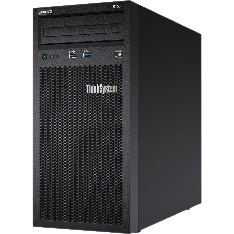 Lenovo ThinkSystem ST50 7Y49A01JAU 4U Tower Server - 1 x Intel Xeon E-2104G 3.20 GHz - 8 GB RAM HDD SSD - Serial ATA/600 Controller