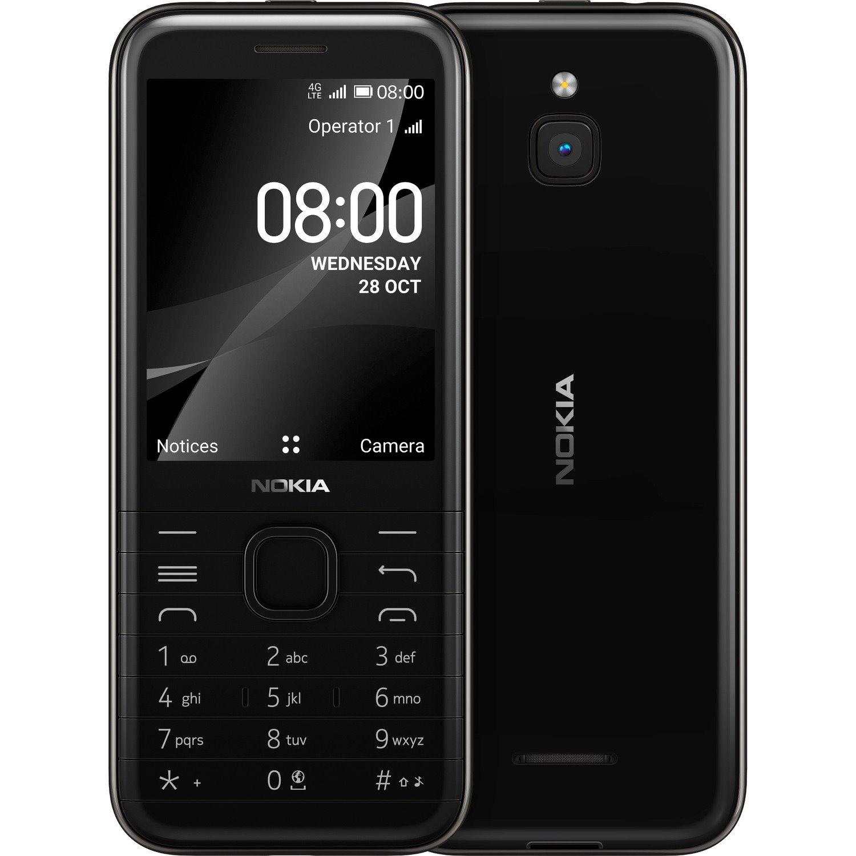 "Nokia 8000 4G 4 GB Feature Phone - 7.1 cm (2.8"") Active Matrix TFT LCD QVGA 320 x 240 - Cortex A7Quad-core (4 Core) 1.10 GHz - 512 MB RAM - 4G - Onyx Black"
