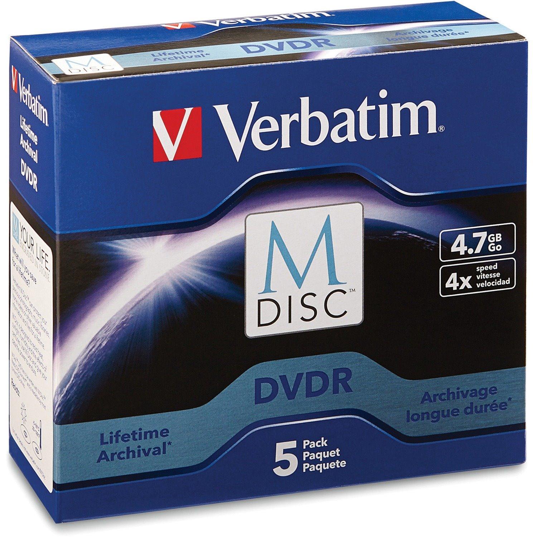 Verbatim M-Disc DVDR 4.7GB 4X with Branded Surface - 5pk Jewel Case Box