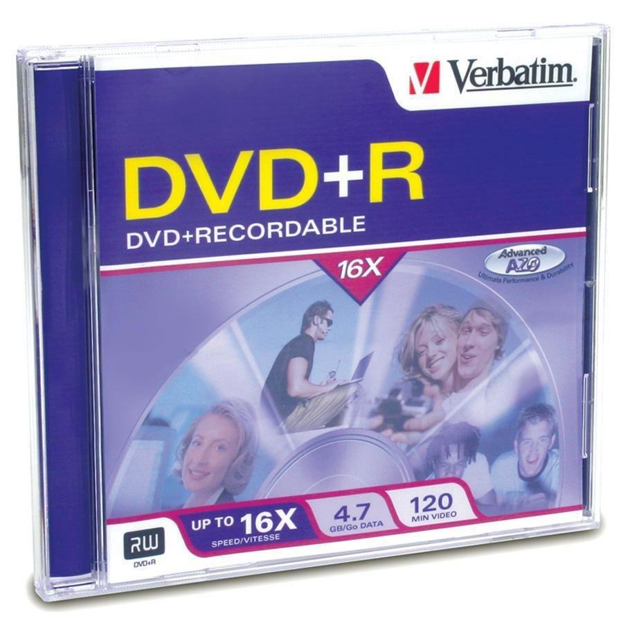 Verbatim DVD+R 4.7GB 16X with Branded Surface - 1pk Jewel Case