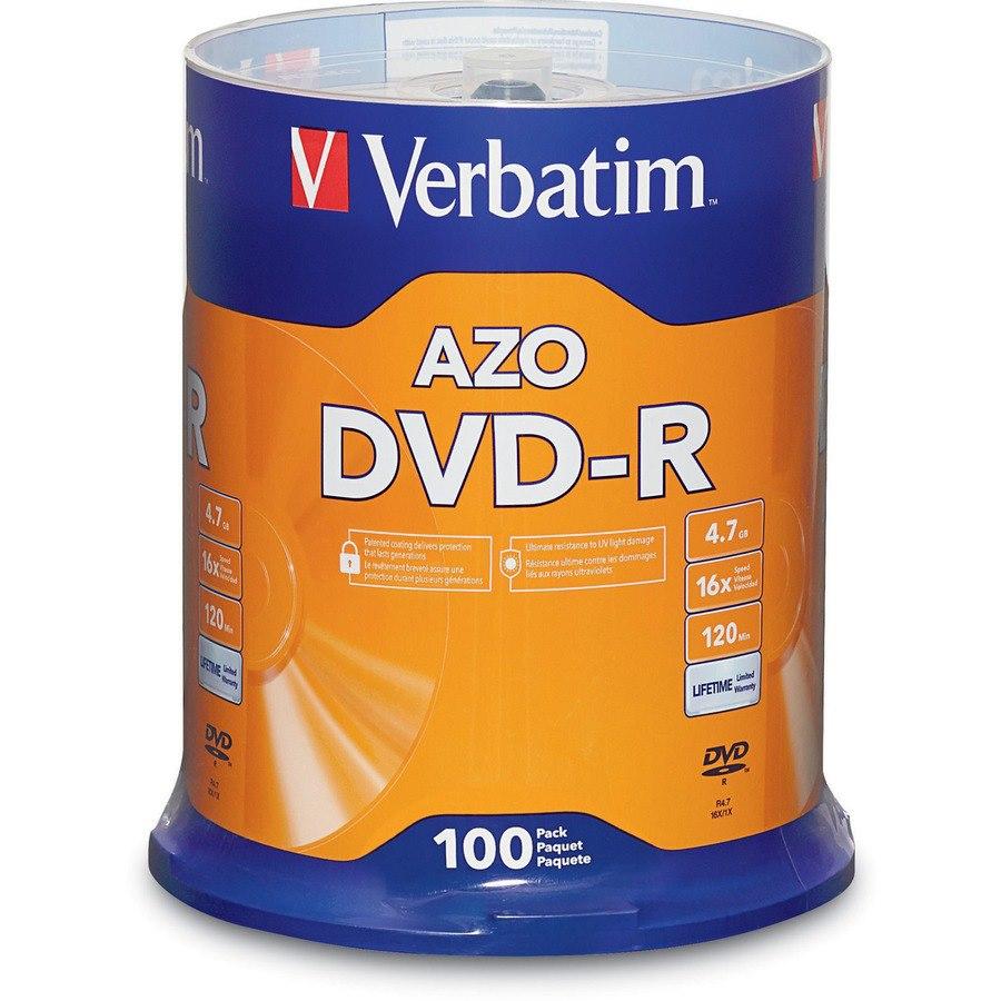 Verbatim DVD Recordable Media - DVD-R - 16x - 4.70 GB - 100 Pack Spindle