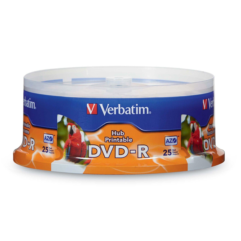 DVD-R 4.7GB 16X White Inkjet Printable, Hub Printable - 25pk Spindle