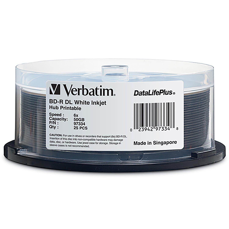 Verbatim BD-R DL 50GB 6X DataLifePlus White Inkjet Printable, Hub Printable - 25pk Spindle