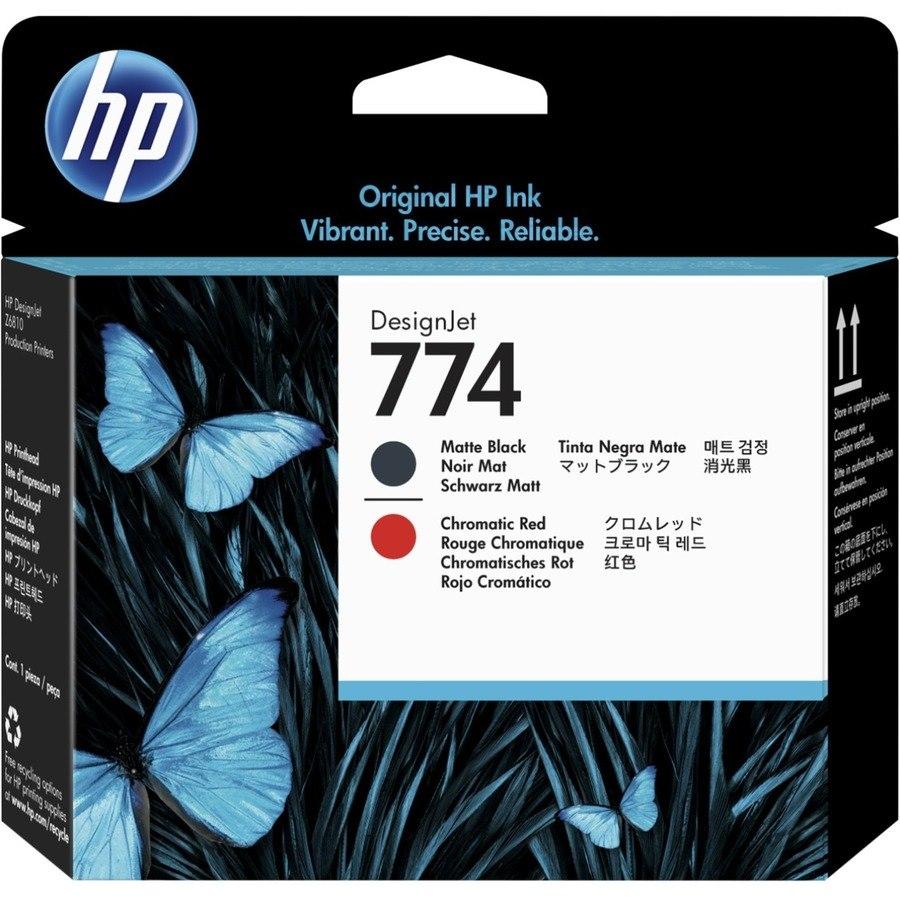 HP 774 Original Printhead - Matte Black, Chromatic Red