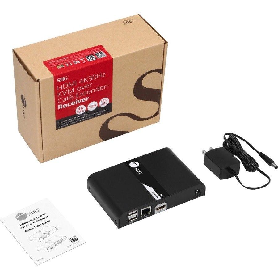 SIIG HDMI 4K30Hz KVM over Cat 6 Extender - Receiver