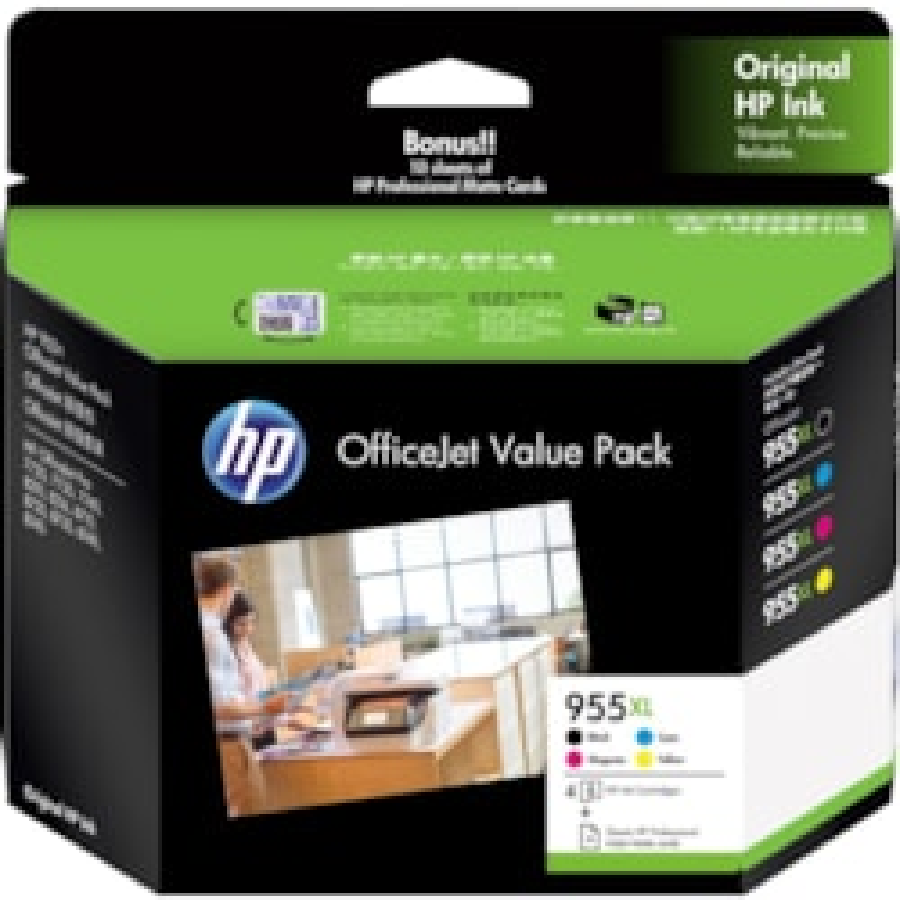 HP 955XL Original Ink Cartridge - Value Pack - Pigment Black, Pigment Cyan, Pigment Magenta, Pigment Yellow