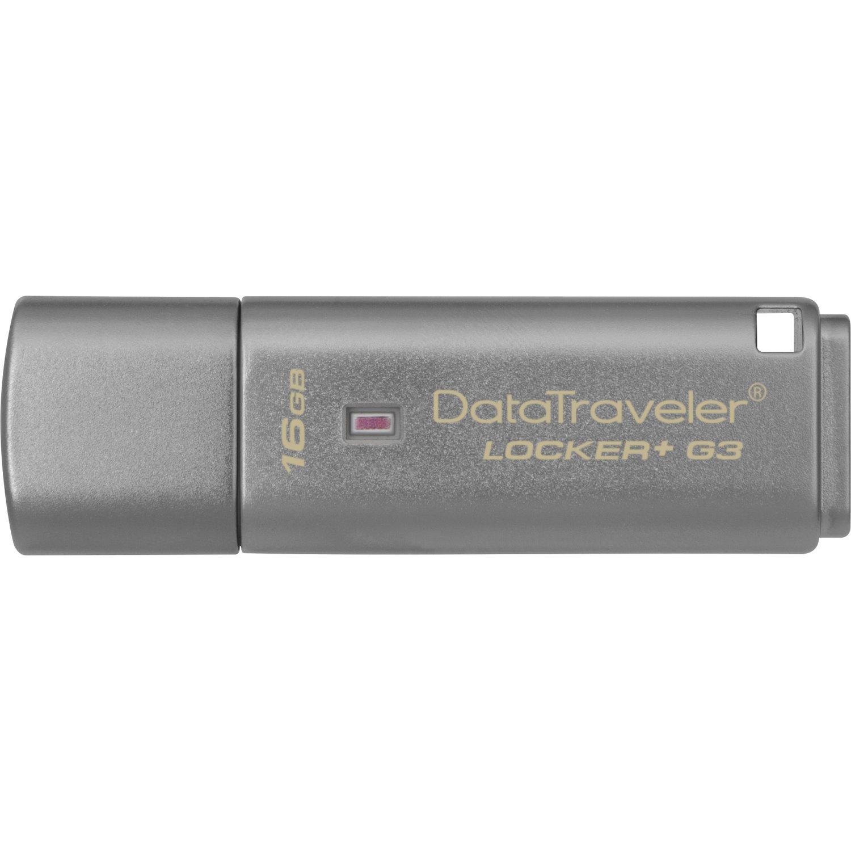 Kingston DataTraveler Locker+ G3 16 GB USB 3.0 Flash Drive - Silver