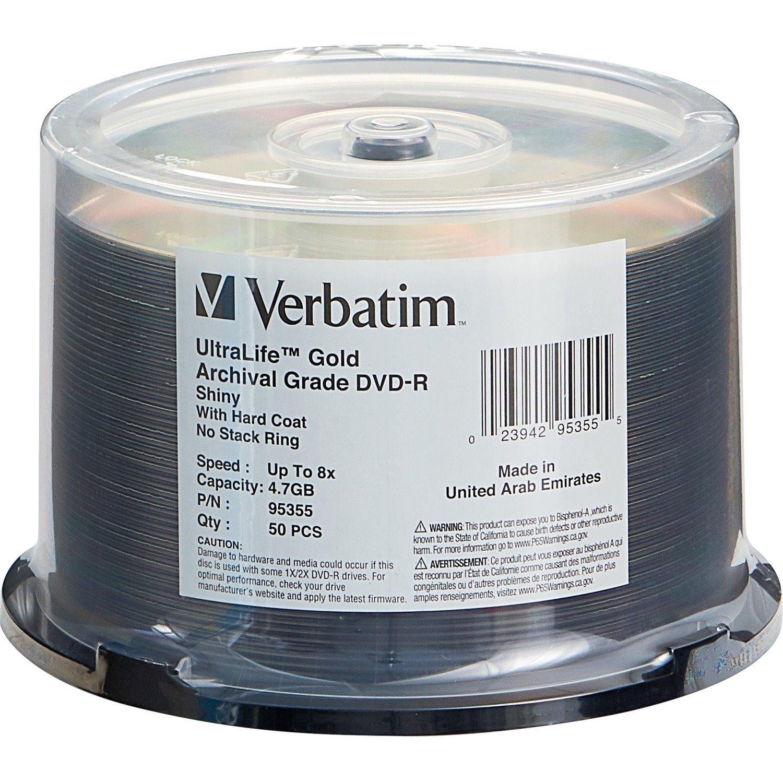 Verbatim UltraLife 95355 DVD Recordable Media - DVD-R - 8x - 4.70 GB - 50 Pack Spindle