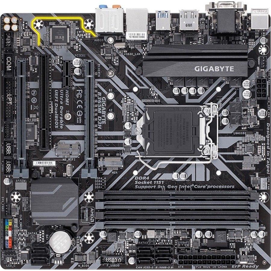 Gigabyte Ultra Durable B365M D3H Desktop Motherboard - Intel Chipset - Socket H4 LGA-1151 - Intel Optane Memory Ready - Micro ATX