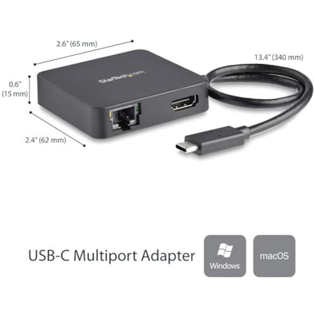 StarTech.com USB Type C Docking Station for Notebook - Black - TAA Compliant