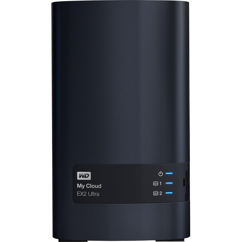 WD My Cloud EX2 Ultra WDBVBZ0080JCH 2 x Total Bays NAS Storage System - Marvell Armada 385 Dual-core (2 Core) 1.30 GHz - 1 GB RAM - DDR3 SDRAM Desktop