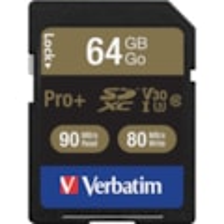 Verbatim PRO Plus 64 GB Class 10/UHS-I (U3) SDXC - 1 Pack - TAA Compliant