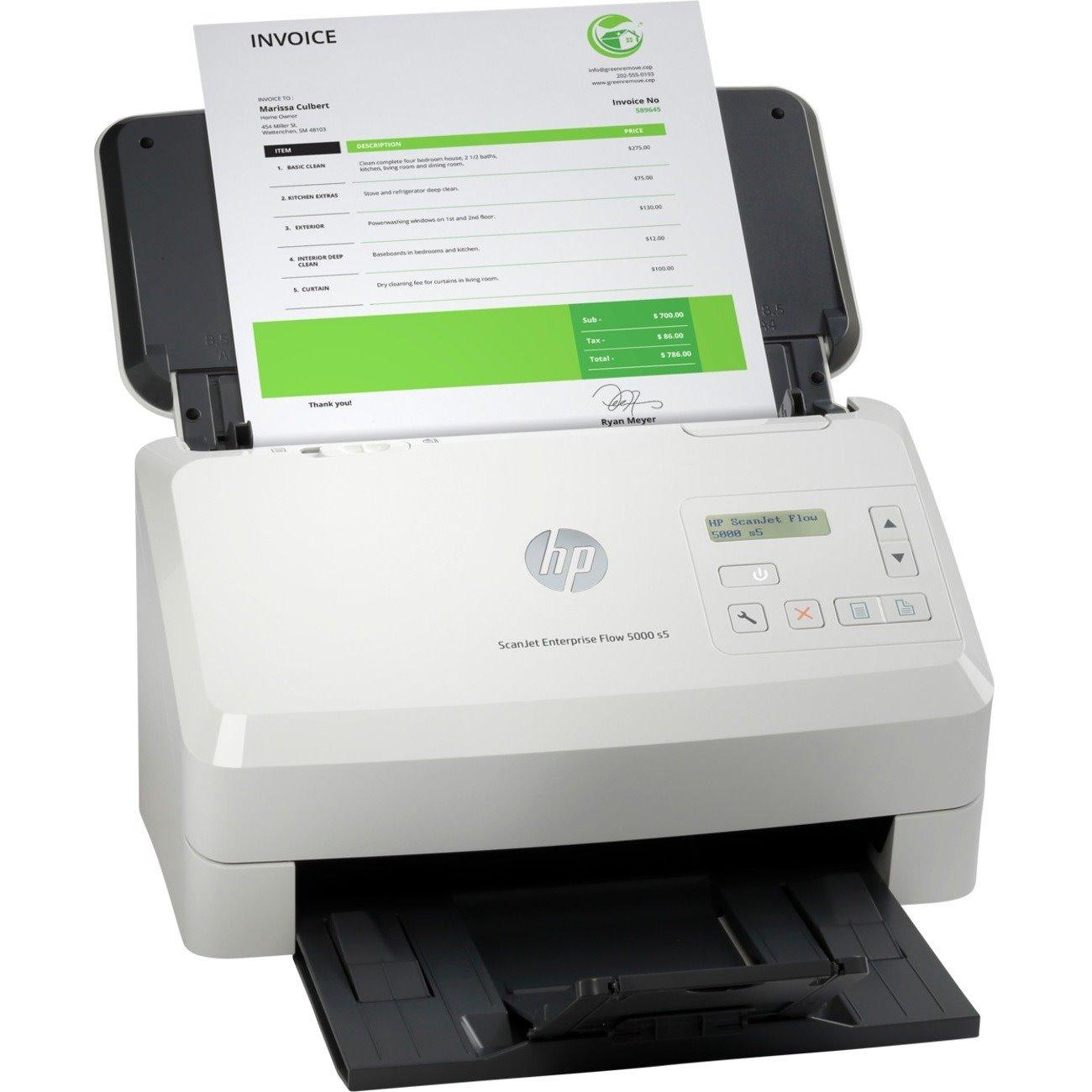 HP Scanjet Enterprise Flow 5000 S5 Sheetfed Scanner - 600 dpi Optical
