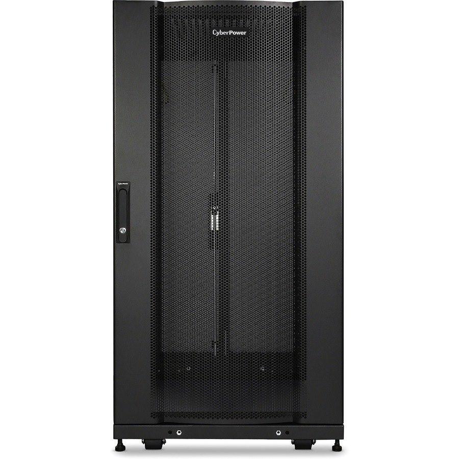 CyberPower Carbon CR24U11001 24U Rack Cabinet for Server, LAN Switch, Patch Panel - 482.60 mm Rack Width x 904.24 mm Rack Depth - Black Powder Coat