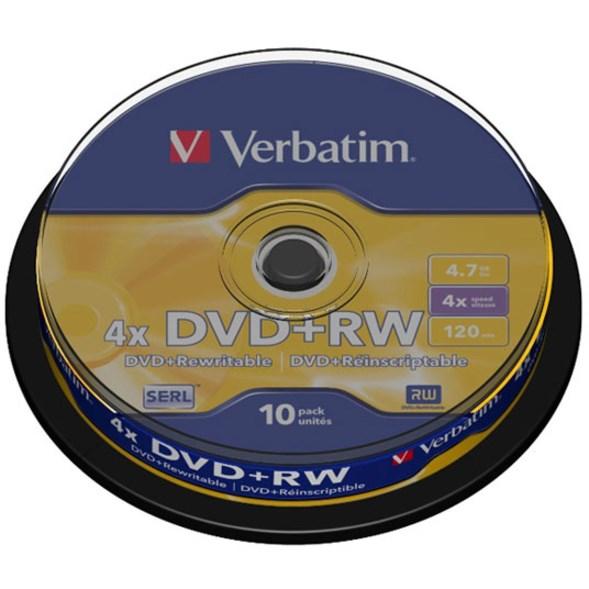 Verbatim 43488 DVD Rewritable Media - DVD+RW - 4x - 4.70 GB - 10 Pack Spindle