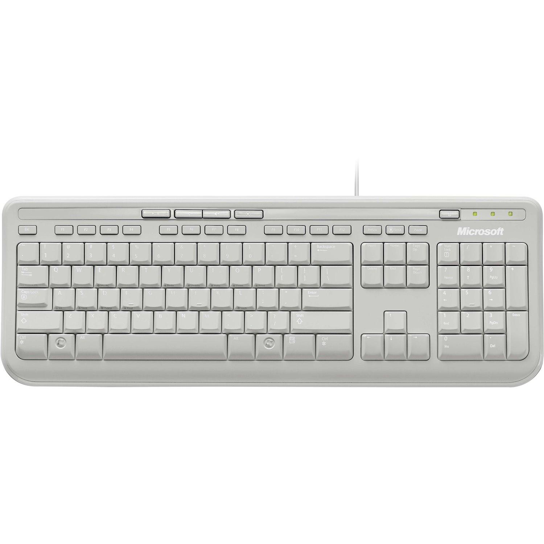 Microsoft 600 Keyboard - Cable Connectivity - USB Interface - English, International - White