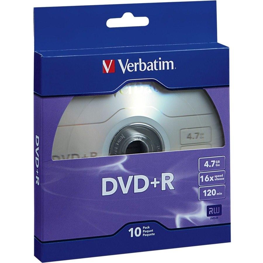 Verbatim DVD+R 4.7GB 16X with Branded Surface - 10pk Bulk Box